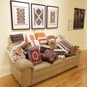 Ukranian couch, Ukranian throw pillows, Ukranian museum