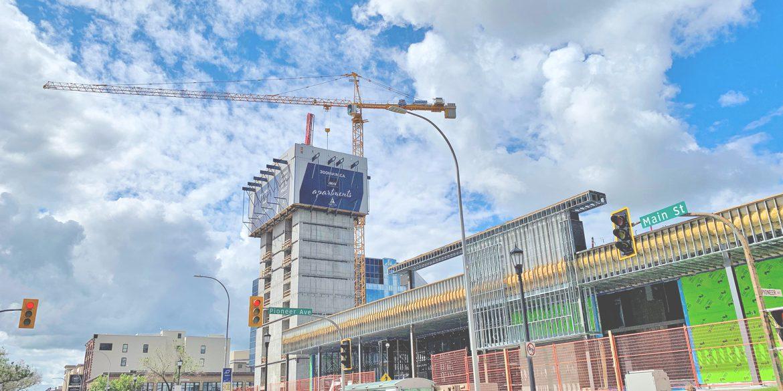Crane at 300 Main, Construction at 300 Main, Portage and Main Construction, Construction of 300 Main, 300 Main Downtown Winnipeg Apartments