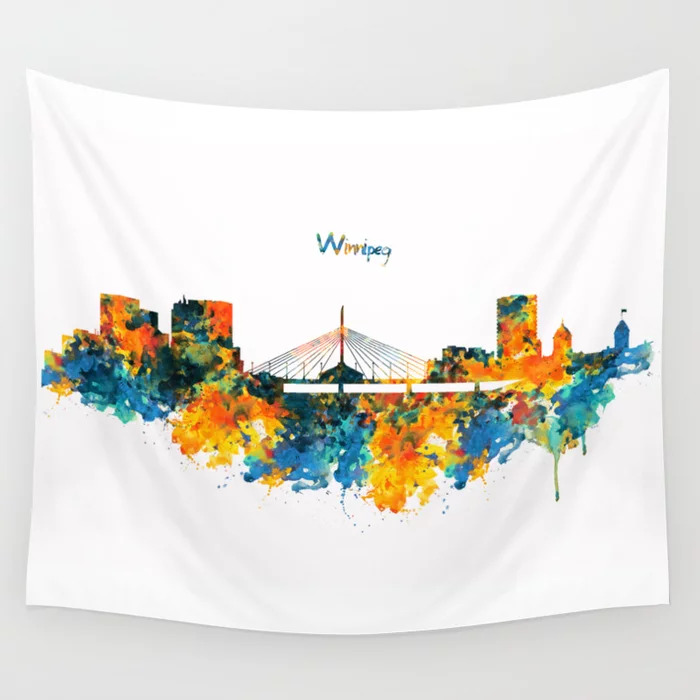wall painting, accent wall, tapestry, wallpaper, apartment decor, decorating, interior design, apartment style, boho-style apartment, boho-style wall, apartment living, renting an apartment, wall art, winnipeg skyline, tapestry
