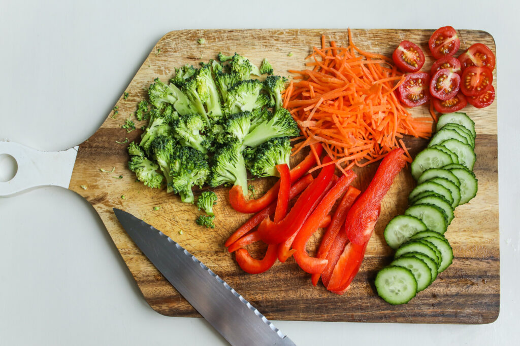 Chopped vegetables on the board