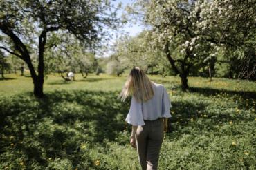 Woman walking at the park